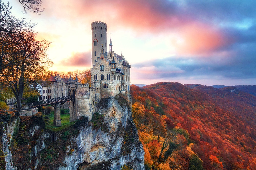 Lichtenstein Castle in autumn