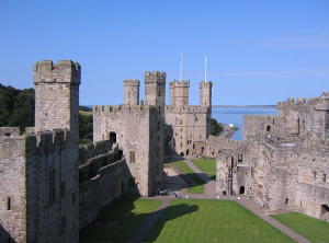 the towers of Caernarfon Castle, Wales