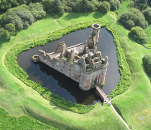 moat at Caerlaverock Castle in Scotland
