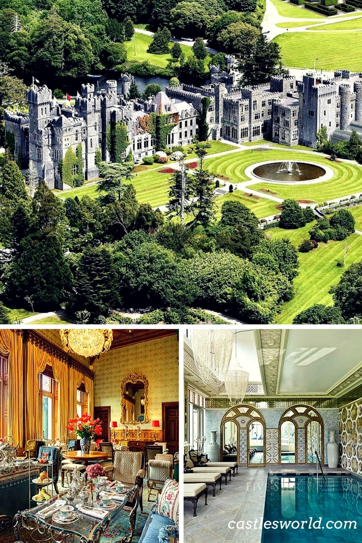 Ashford Castle is a medieval castle that has been expanded over the centuries and turned into a five star luxury hotel. It is a member of the Leading Hotels of the World organization and was previously owned by the Guinness family