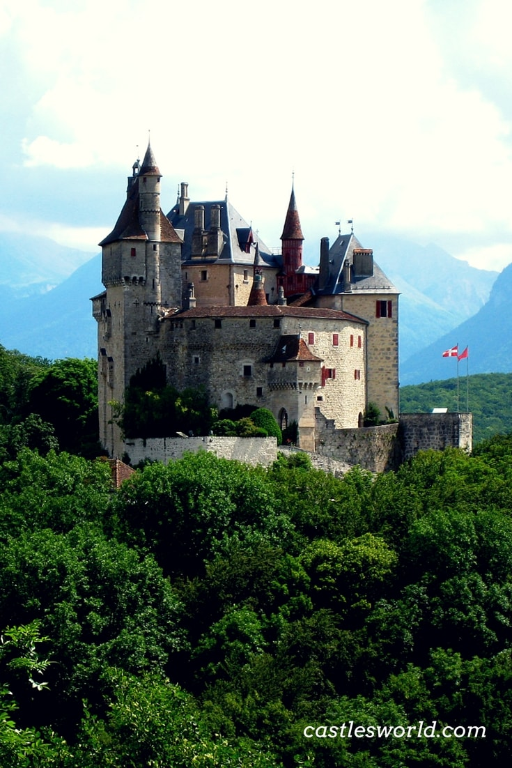 The Castle of Menthon-Saint-Bernard stands on a 200 meters tall rock, commanding majestic views of Lake Annecy and the village of Menthon-Saint-Bernard. It has 105 rooms on four levels and it is a major tourist attraction