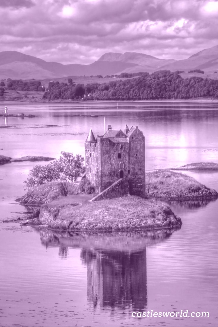 Castle Stalker is picturesquely set on a tidal islet on Loch Laich in Scotland. The castle is entirely authentic; it is one of the best-preserved medieval tower-houses surviving in Scotland.