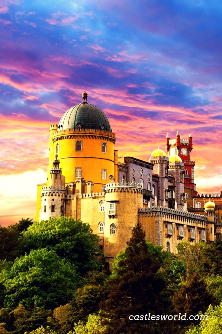 Pena Palace stands on the top of a hill in the Sintra Mountains and on a clear day it can be easily seen from Lisbon